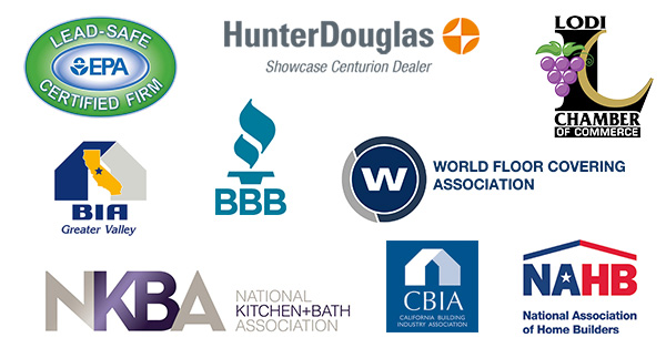 EPA Certified, Hunter Douglas Showcase Centurion Dealer, Lodi Chamber Of Commerce, World Floor Covering Association, Better Business Bureau, National Association of Home Builders, National Kitchen & Bath Association, BIA Greater Valley, CBIA California building Industry Association